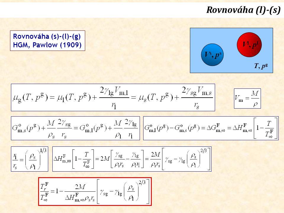 Vs, psVs, ps V l, p l T, p g Rovnováha (s)-(l)-(g) HGM, Pawlow (1909) Rovnováha (l)-(s)