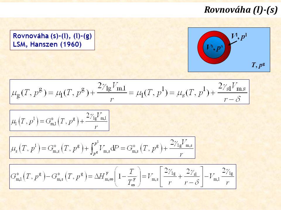 Vs, psVs, ps V l, p l T, p g Rovnováha (s)-(l), (l)-(g) LSM, Hanszen (1960) Rovnováha (l)-(s)