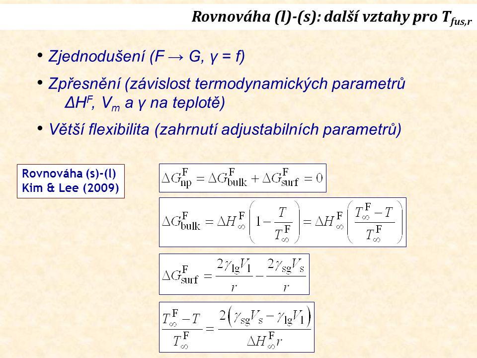 Rovnováha (l)-(s): další vztahy pro T fus,r Zjednodušení (F → G, γ = f) Zpřesnění (závislost termodynamických parametrů ΔH F, V m a γ na teplotě) Větší flexibilita (zahrnutí adjustabilních parametrů) Rovnováha (s)-(l) Kim & Lee (2009)