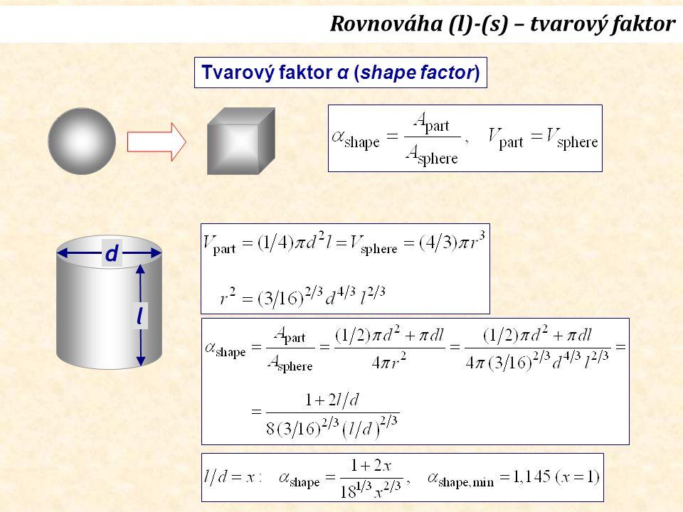 Rovnováha (l)-(s) – tvarový faktor Tvarový faktor α (shape factor) d l
