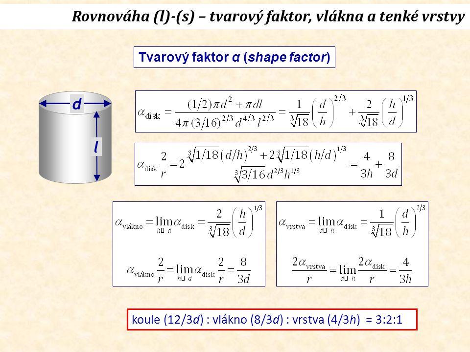 d l Rovnováha (l)-(s) – tvarový faktor, vlákna a tenké vrstvy koule (12/3d) : vlákno (8/3d) : vrstva (4/3h) = 3:2:1