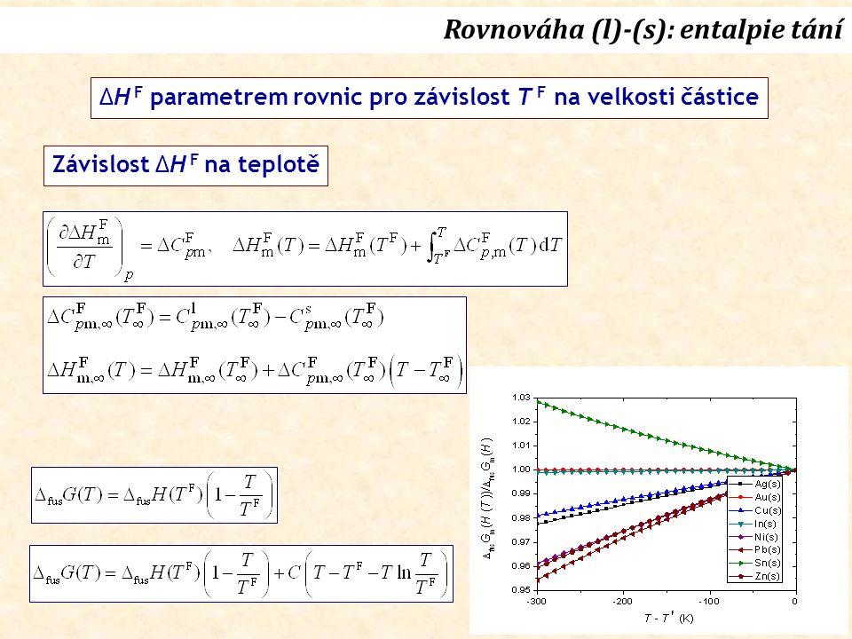 Rovnováha (l)-(s): entalpie tání ΔH F parametrem rovnic pro závislost T F na velkosti částice Závislost ΔH F na teplotě