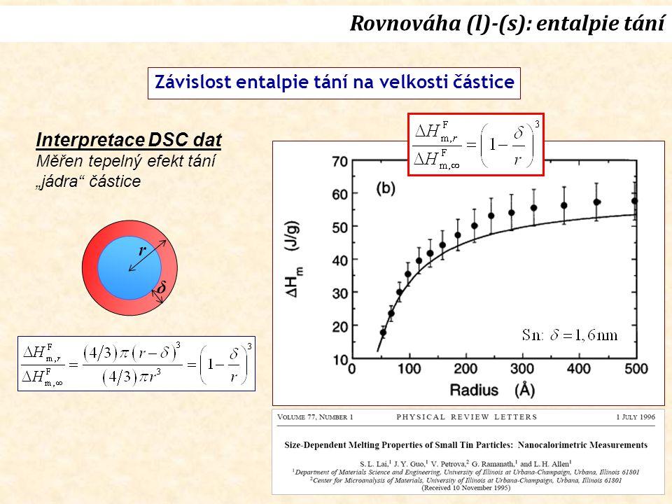 """Závislost entalpie tání na velkosti částice Rovnováha (l)-(s): entalpie tání δ r Interpretace DSC dat Měřen tepelný efekt tání """"jádra částice"""