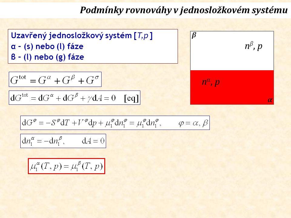 Uzavřený jednosložkový systém [T,p ] α – (s) nebo (l) fáze β – (l) nebo (g) fáze Podmínky rovnováhy v jednosložkovém systému n β, p n α, p α β