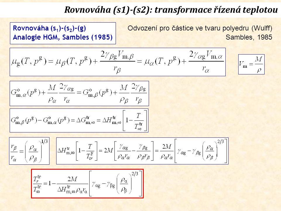 Rovnováha (s 1 )-(s 2 )-(g) Analogie HGM, Sambles (1985) Rovnováha (s1)-(s2): transformace řízená teplotou Odvození pro částice ve tvaru polyedru (Wulff) Sambles, 1985