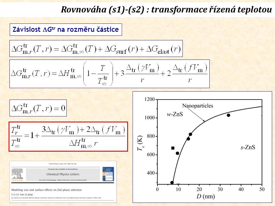 Závislost  G tr na rozměru částice Rovnováha (s1)-(s2) : transformace řízená teplotou