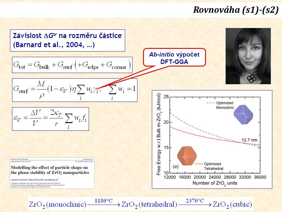 Závislost  G tr na rozměru částice (Barnard et al., 2004, …) Ab-initio výpočet DFT-GGA Rovnováha (s1)-(s2)