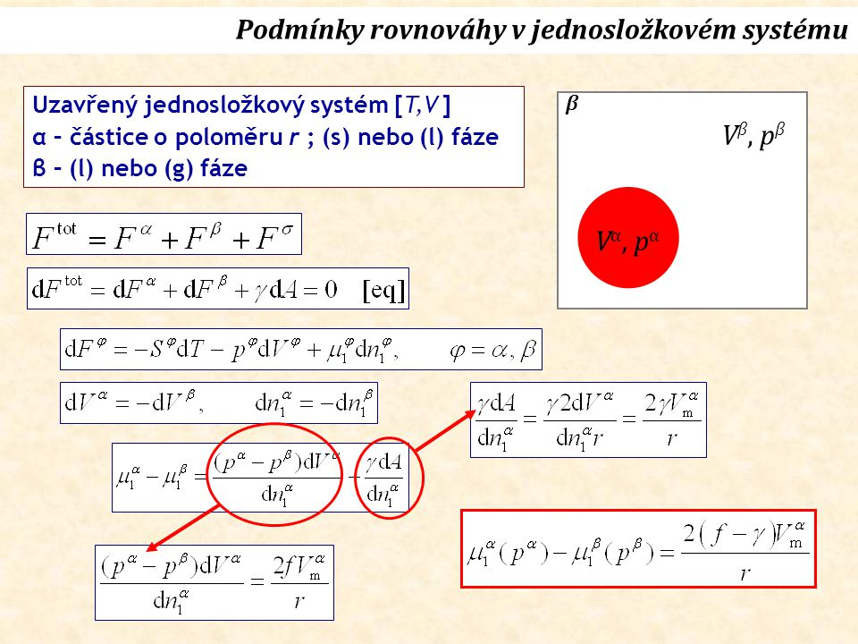 Rovnováha při konstantní T Kelvinova rovnice (1870) Vl, plVl, pl T, p g Rovnováha (g)-(l)
