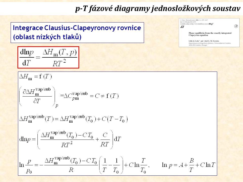 p-T fázové diagramy jednosložkových soustav Integrace Clausius-Clapeyronovy rovnice (oblast nízkých tlaků)