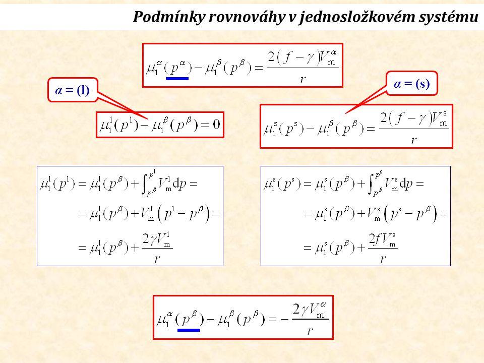 α = (l) α = (s) Podmínky rovnováhy v jednosložkovém systému