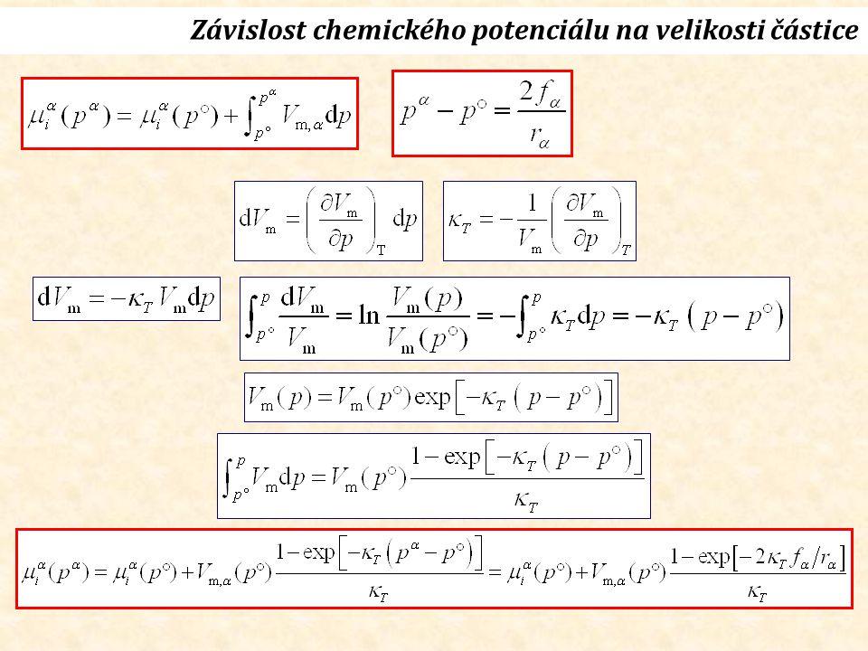 Rovnováha při konstantním p g Gibbsova-Thomsonova rovnice (1888) Vl, plVl, pl T, p g Gibbsova-Duhemova rovnice Rovnováha (g)-(l)