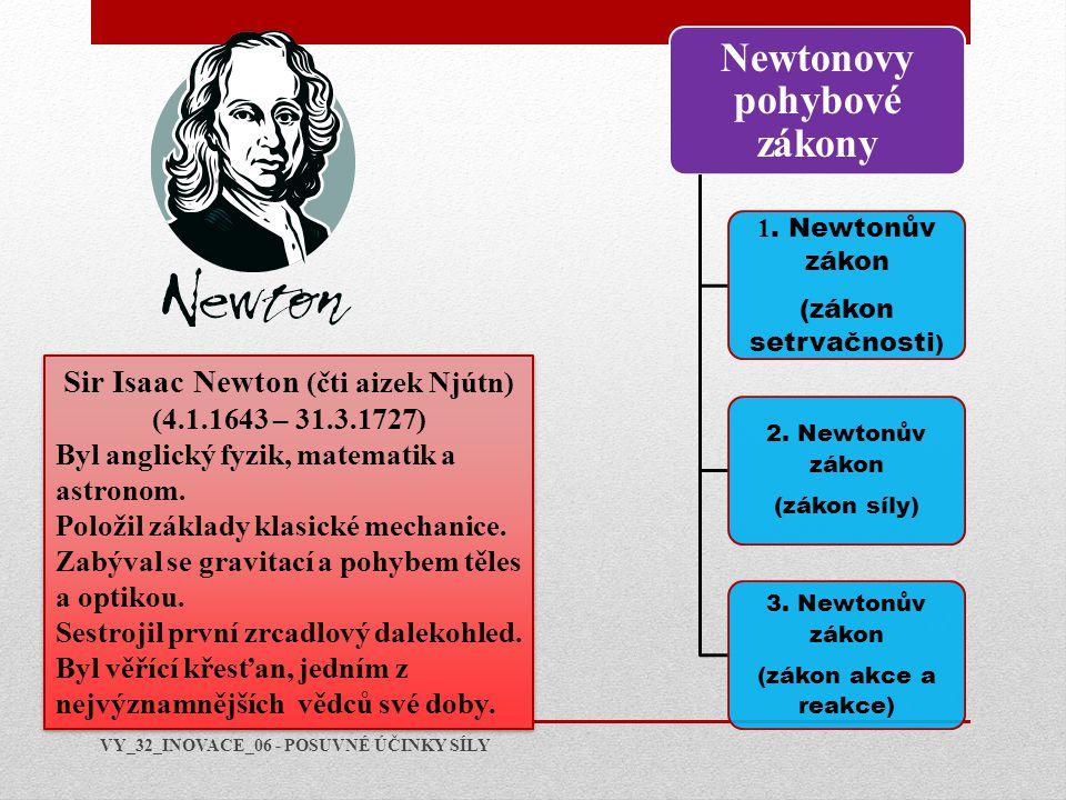 Sir Isaac Newton (čti aizek Njútn) (4.1.1643 – 31.3.1727) Byl anglický fyzik, matematik a astronom. Položil základy klasické mechanice. Zabýval se gra