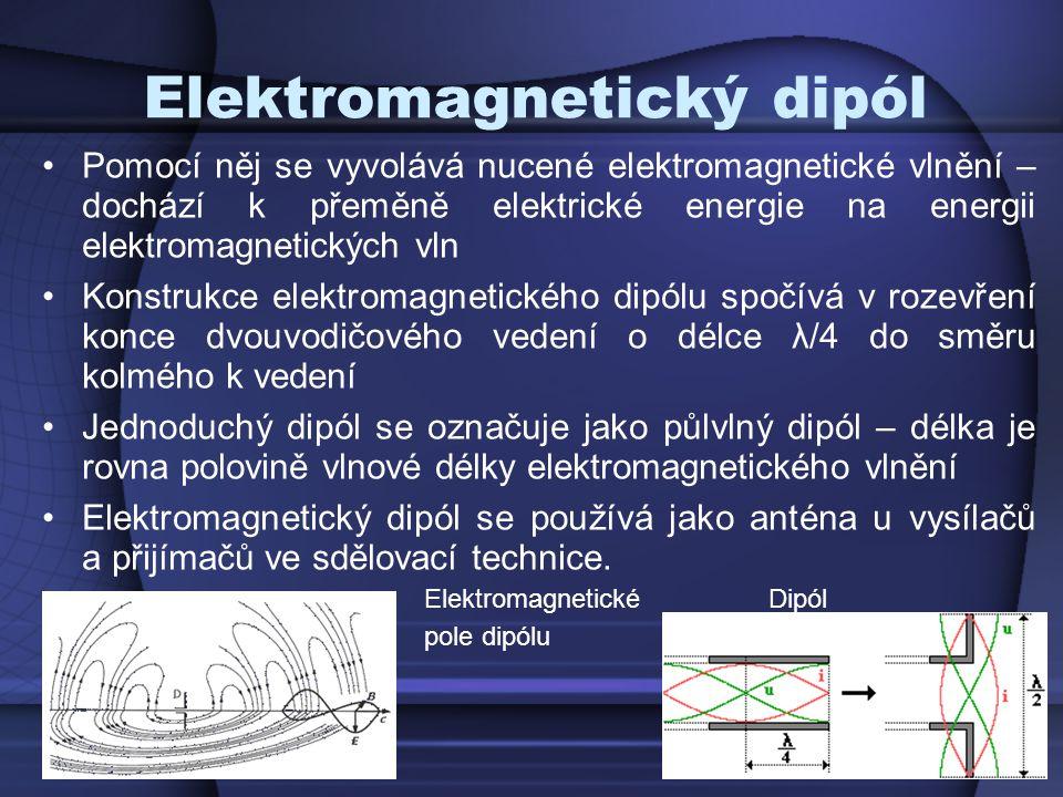 Elektromagnetický dipól Pomocí něj se vyvolává nucené elektromagnetické vlnění – dochází k přeměně elektrické energie na energii elektromagnetických v