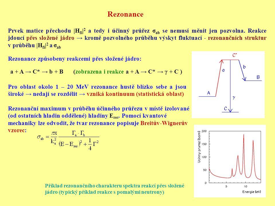 Rezonance Prvek matice přechodu |H fi | 2 a tedy i účinný průřez σ ab se nemusí měnit jen pozvolna.