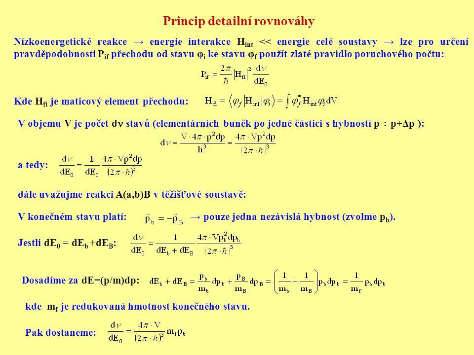 Princip detailní rovnováhy Nízkoenergetické reakce → energie interakce H int << energie celé soustavy → lze pro určení pravděpodobnosti P if přechodu od stavu φ i ke stavu φ f použít zlaté pravidlo poruchového počtu: Kde H fi je maticový element přechodu: V objemu V je počet d stavů (elementárních buněk po jedné částici s hybností p  p+Δp ): a tedy: dále uvažujme reakci A(a,b)B v těžišťové soustavě: V konečném stavu platí: → pouze jedna nezávislá hybnost (zvolme p b ).