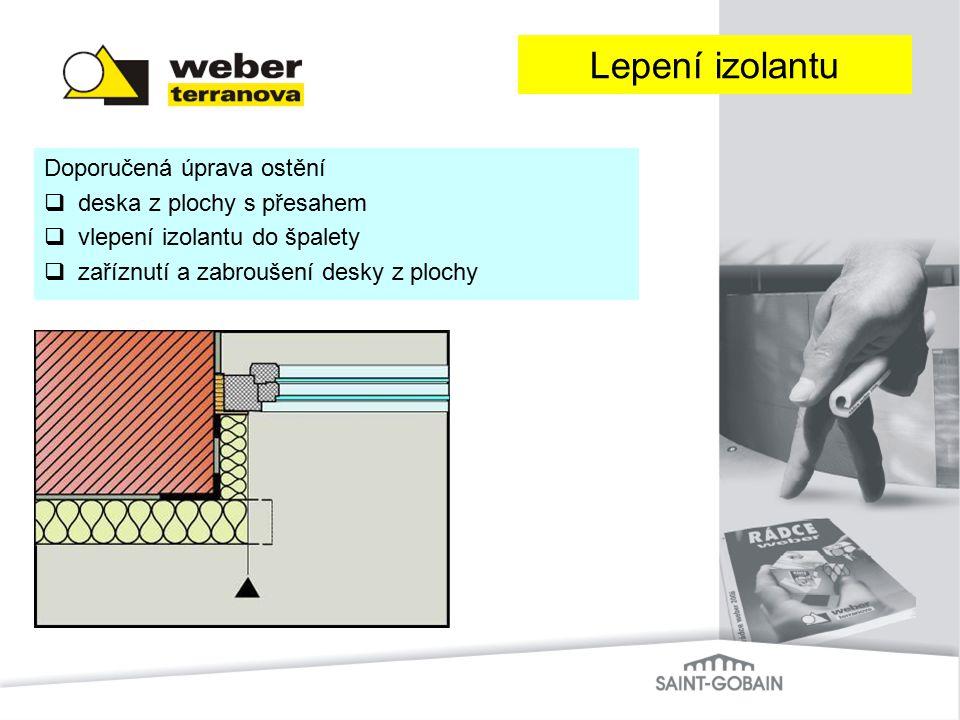 Doporučená úprava ostění  deska z plochy s přesahem  vlepení izolantu do špalety  zaříznutí a zabroušení desky z plochy Lepení izolantu