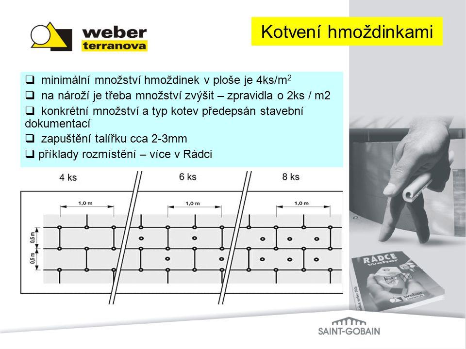  minimální množství hmoždinek v ploše je 4ks/m 2  na nároží je třeba množství zvýšit – zpravidla o 2ks / m2  konkrétní množství a typ kotev předeps