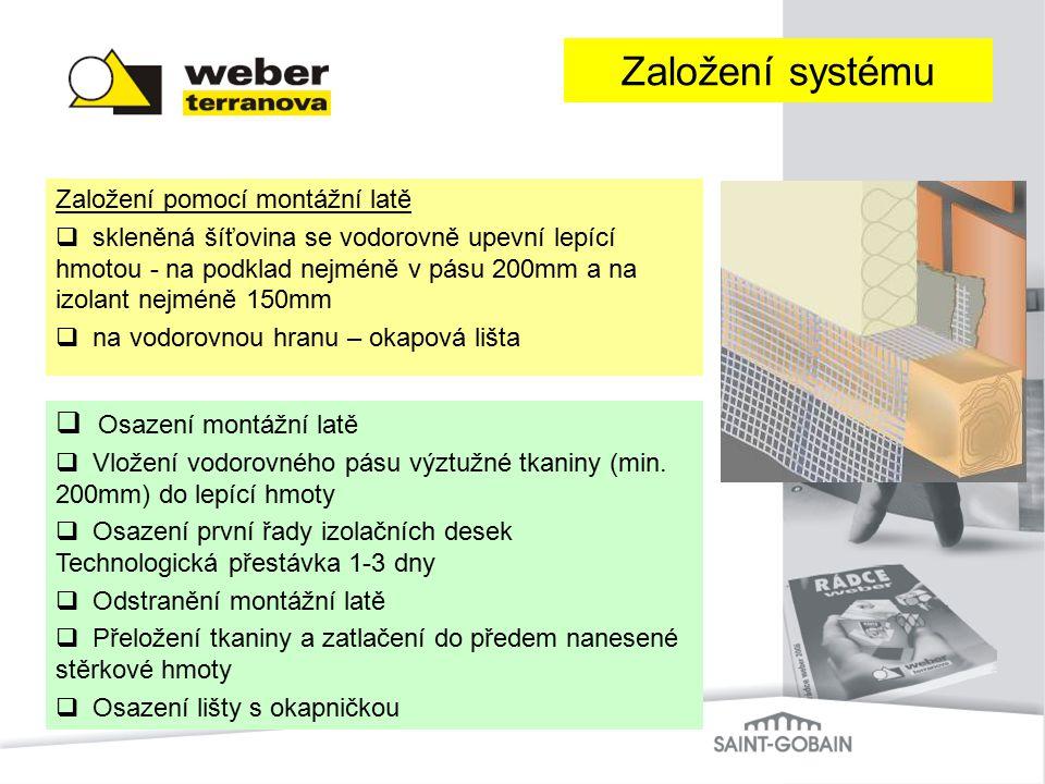 Založení pomocí montážní latě  skleněná šíťovina se vodorovně upevní lepící hmotou - na podklad nejméně v pásu 200mm a na izolant nejméně 150mm  na