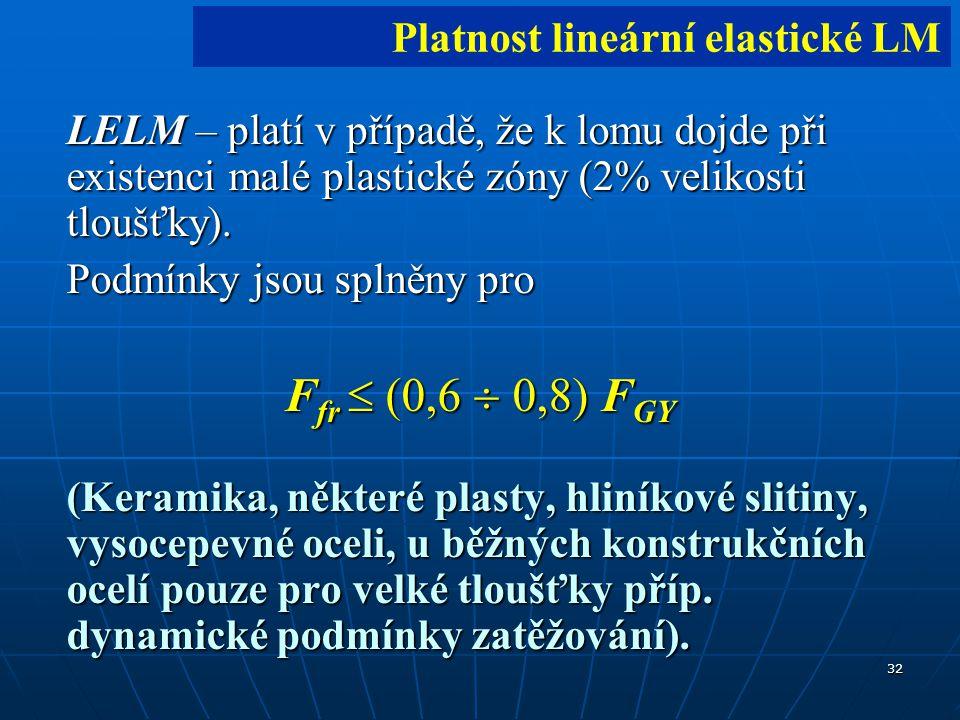 32 LELM – platí v případě, že k lomu dojde při existenci malé plastické zóny (2% velikosti tloušťky).
