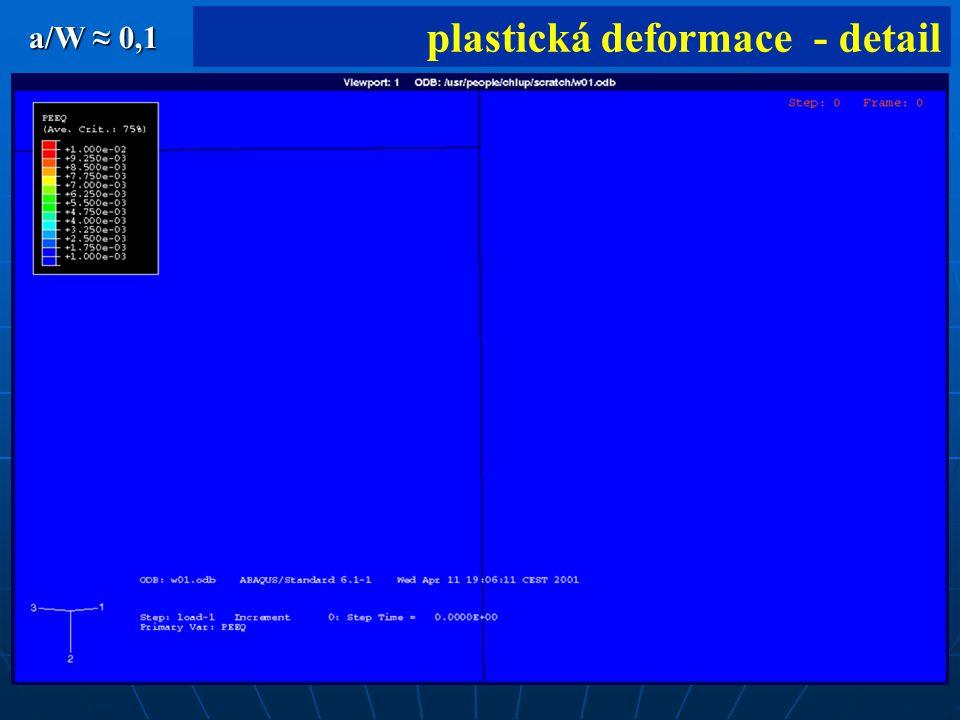 39 plastická deformace - detail a/W ≈ 0,1
