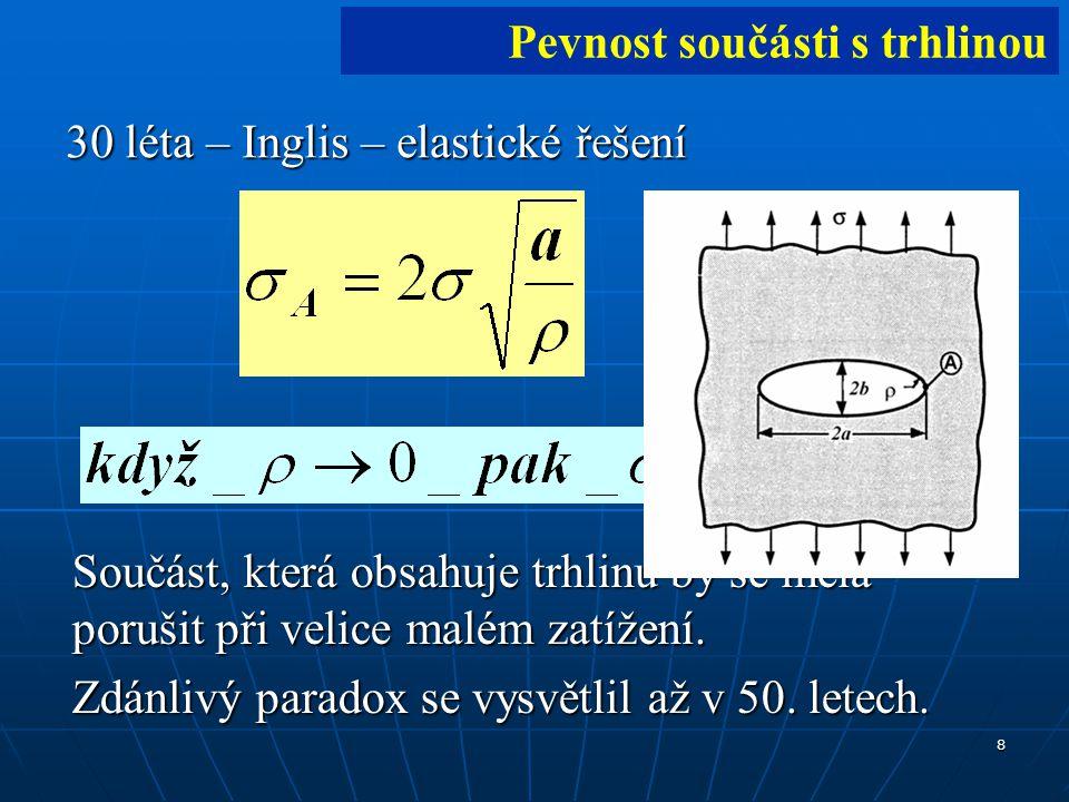 8 30 léta – Inglis – elastické řešení [1][1] Pevnost součásti s trhlinou Součást, která obsahuje trhlinu by se měla porušit při velice malém zatížení.