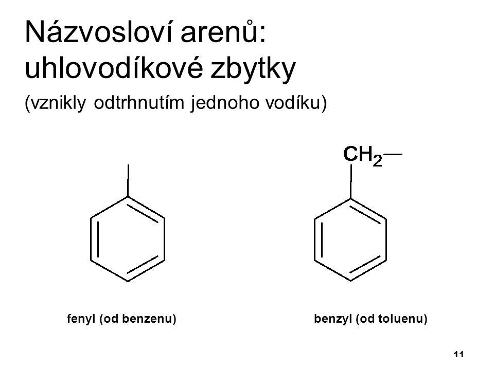 11 Názvosloví arenů: uhlovodíkové zbytky (vznikly odtrhnutím jednoho vodíku) fenyl (od benzenu)benzyl (od toluenu)