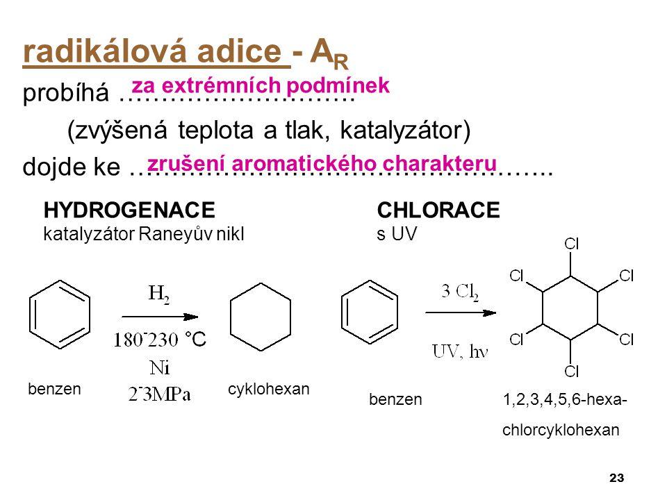 radikálová adice - A R probíhá ………………………. (zvýšená teplota a tlak, katalyzátor) dojde ke ………………………………………….. 23 benzencyklohexan za extrémních podmínek