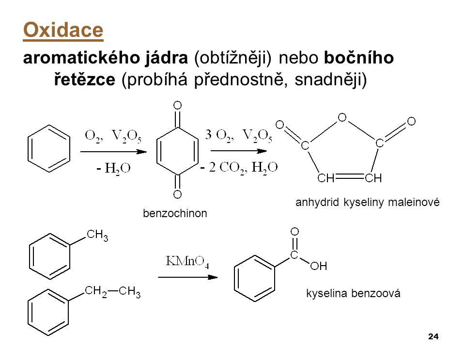 24 Oxidace aromatického jádra (obtížněji) nebo bočního řetězce (probíhá přednostně, snadněji) benzochinon anhydrid kyseliny maleinové kyselina benzoov