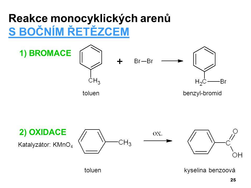 25 1) BROMACE Reakce monocyklických arenů S BOČNÍM ŘETĚZCEM toluenbenzyl-bromid 2) OXIDACE Katalyzátor: KMnO 4 toluen kyselina benzoová