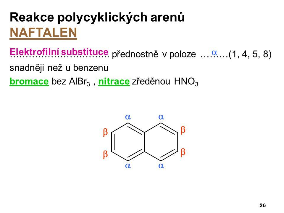 ………………………….. přednostně v poloze ………(1, 4, 5, 8) snadněji než u benzenu bromace bez AlBr 3, nitrace zředěnou HNO 3 26 Reakce polycyklických arenů NAFT