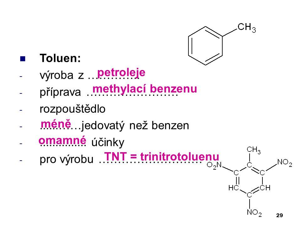 Toluen: - výroba z ………….. - příprava …………………… - rozpouštědlo -......……jedovatý než benzen -............... účinky - pro výrobu ……………………… 29 petroleje