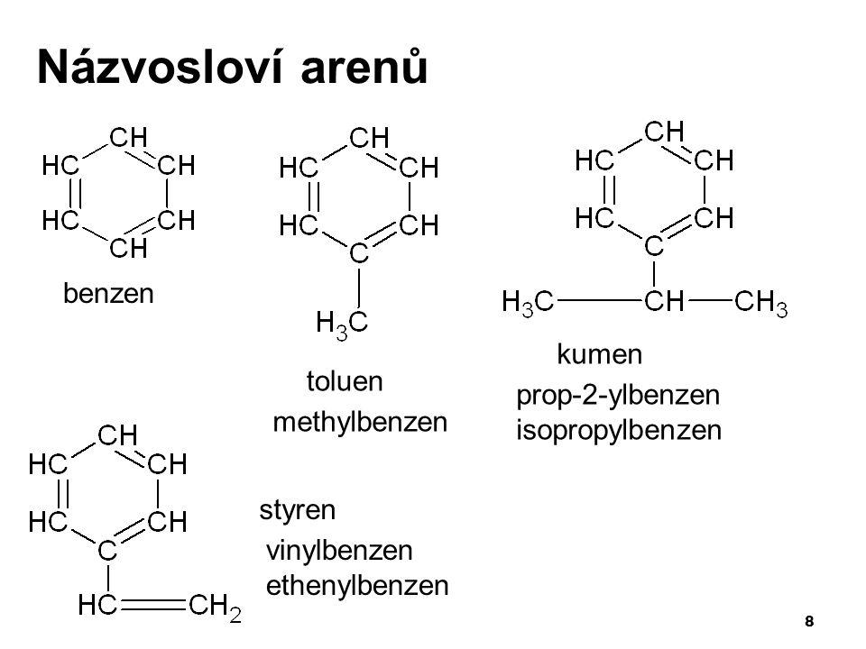 8 Názvosloví arenů benzen kumen toluen styren methylbenzen prop-2-ylbenzen isopropylbenzen vinylbenzen ethenylbenzen