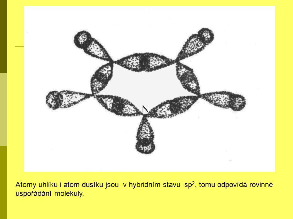 Atomy uhlíku i atom dusíku jsou v hybridním stavu sp 2, tomu odpovídá rovinné uspořádání molekuly.