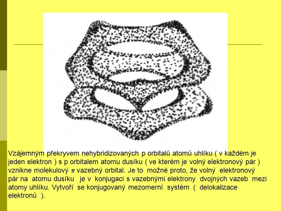 Vzájemným překryvem nehybridizovaných p orbitalů atomů uhlíku ( v každém je jeden elektron ) s p orbitalem atomu dusíku ( ve kterém je volný elektrono