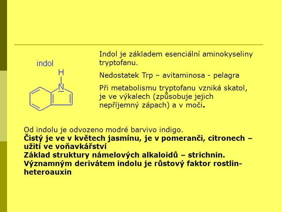 Indol je základem esenciální aminokyseliny tryptofanu. Nedostatek Trp – avitaminosa - pelagra Při metabolismu tryptofanu vzniká skatol, je ve výkalech