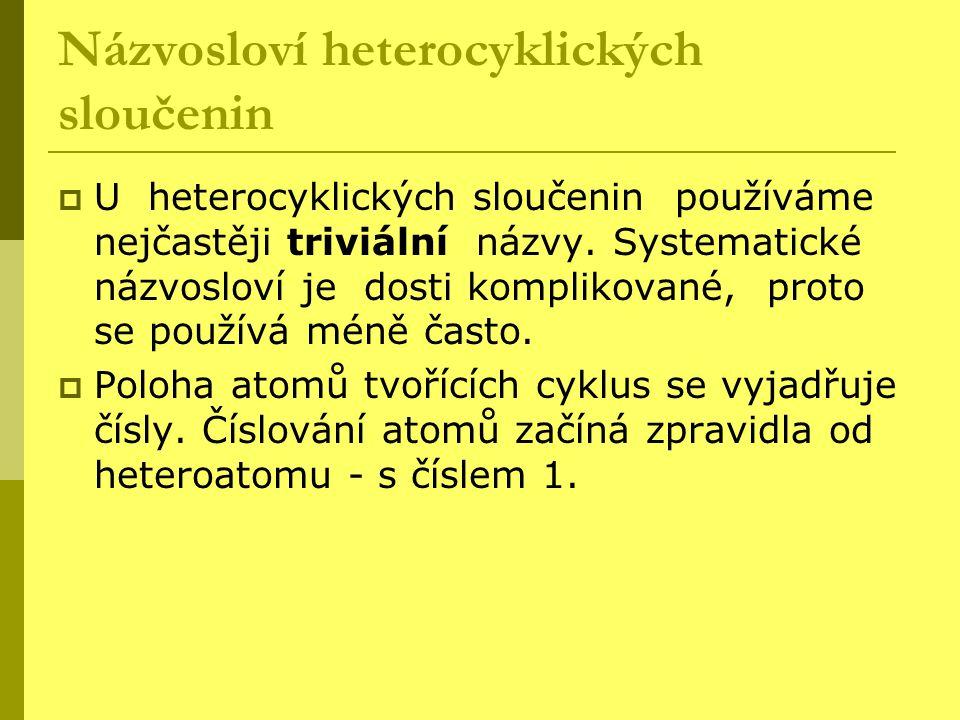 Názvosloví heterocyklických sloučenin  U heterocyklických sloučenin používáme nejčastěji triviální názvy. Systematické názvosloví je dosti komplikova