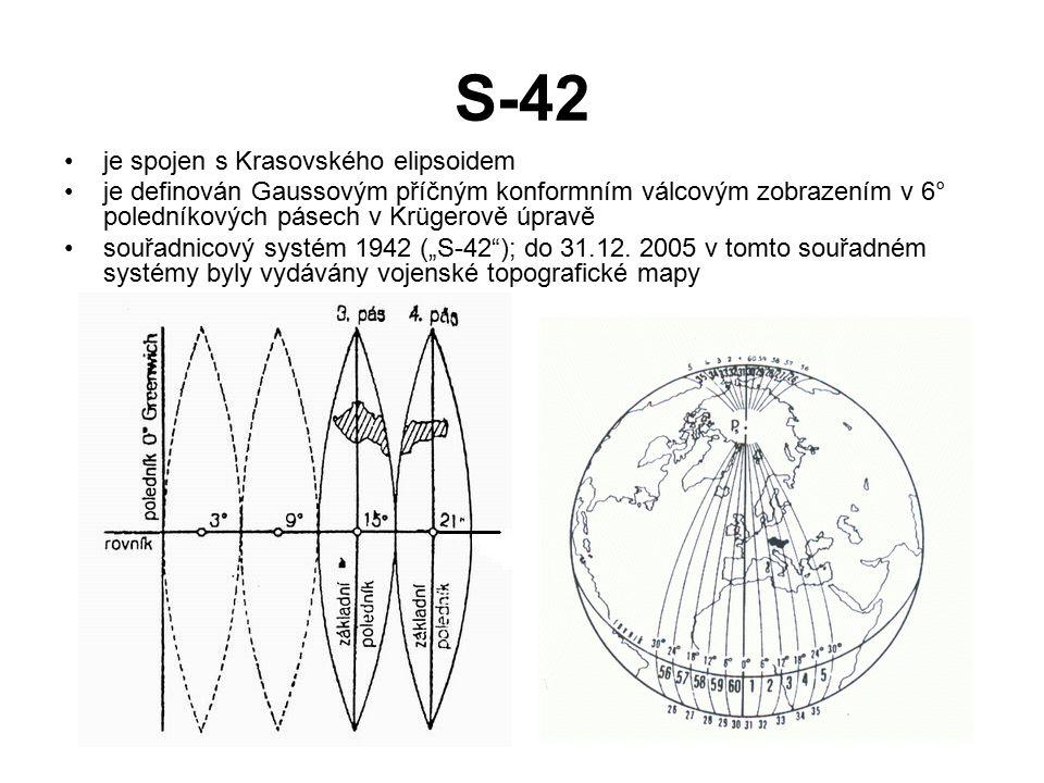 """S-42 je spojen s Krasovského elipsoidem je definován Gaussovým příčným konformním válcovým zobrazením v 6° poledníkových pásech v Krügerově úpravě souřadnicový systém 1942 (""""S-42 ); do 31.12."""
