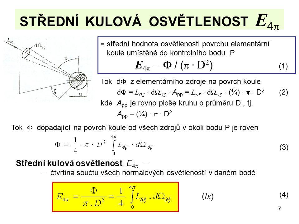 7 STŘEDNÍ KULOVÁ OSVĚTLENOST E 4  = střední hodnota osvětlenosti povrchu elementární koule umístěné do kontrolního bodu P E 4  =  / (  · D 2 ) (1)