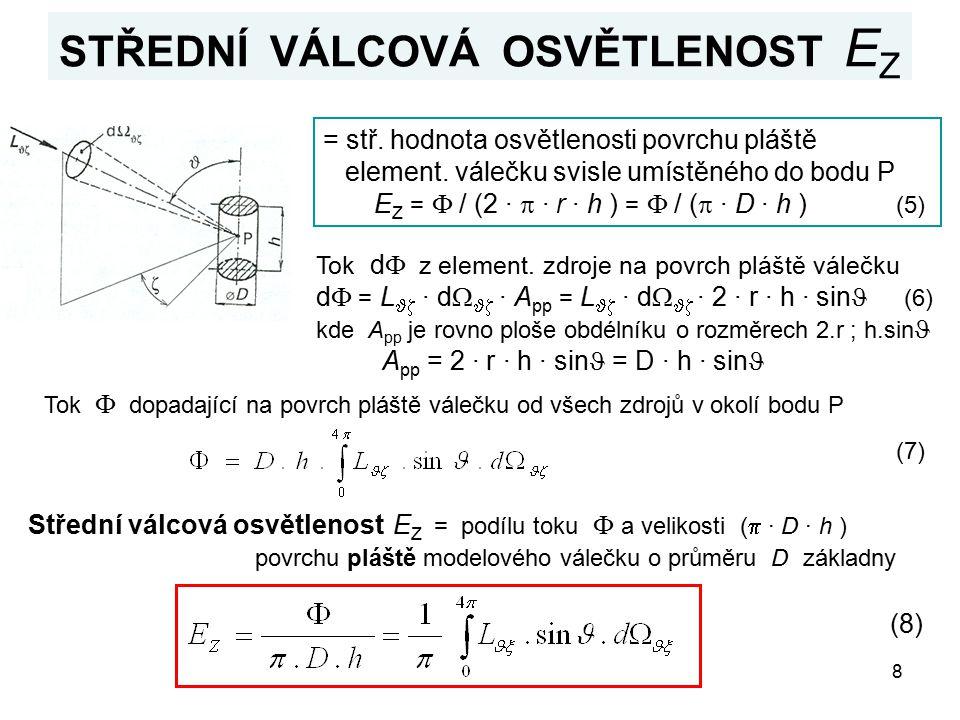 8 STŘEDNÍ VÁLCOVÁ OSVĚTLENOST E Z = stř. hodnota osvětlenosti povrchu pláště element. válečku svisle umístěného do bodu P E Z =  / (2 ·  · r · h ) =