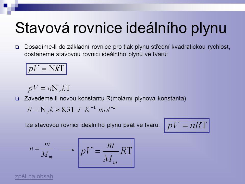 Stavová rovnice ideálního plynu při stálé hmotnosti  Stavová rovnice na začátku děje:  Stavová rovnice na konci děje: tj.