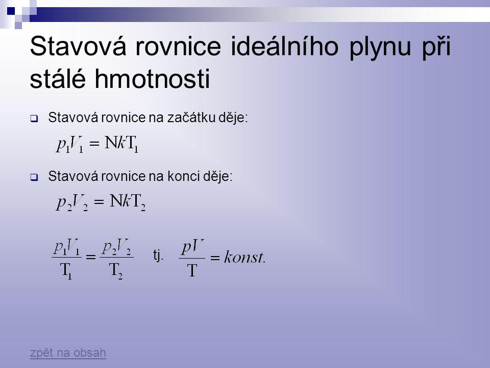 Stavová rovnice ideálního plynu při stálé hmotnosti  Stavová rovnice na začátku děje:  Stavová rovnice na konci děje: tj. zpět na obsah