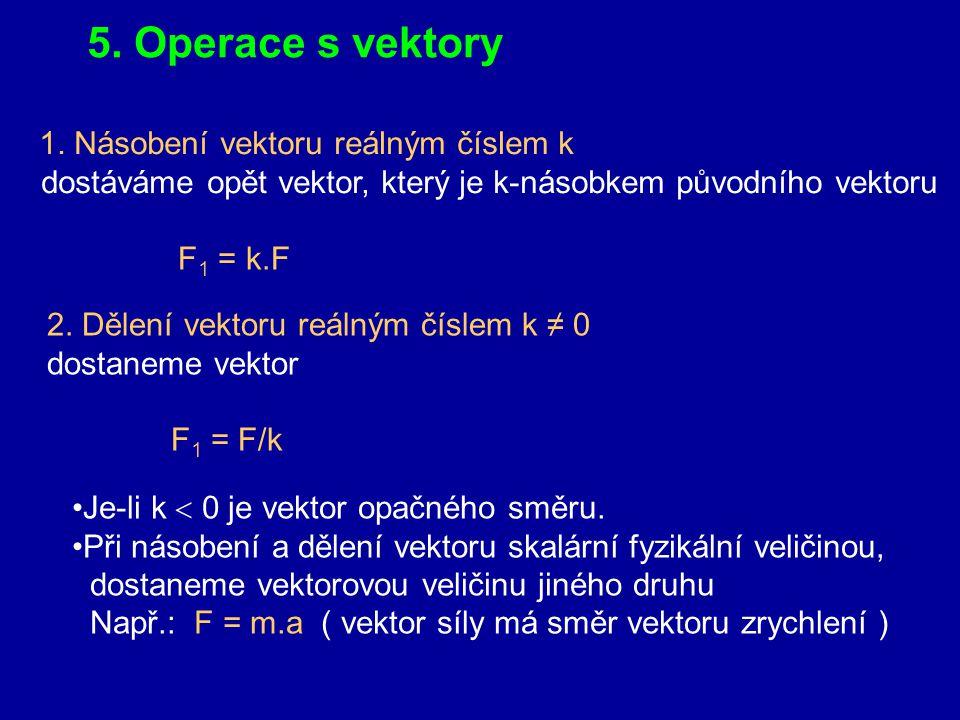 4. Skalární a vektorové fyzikální veličiny Skalární veličiny - skaláry jsou zcela určeny jen číselnou hodnotou a měřicí jednotkou Např. m = 2,5 kg, l