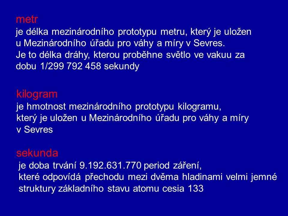 2. Fyzikální veličiny a jednotky SI (mezinárodní soustava jednotek) Fyz. veličinaznačkajednotkaznačka Délkalmetrm Hmotnostmkilogramkg Častsekundas Ele