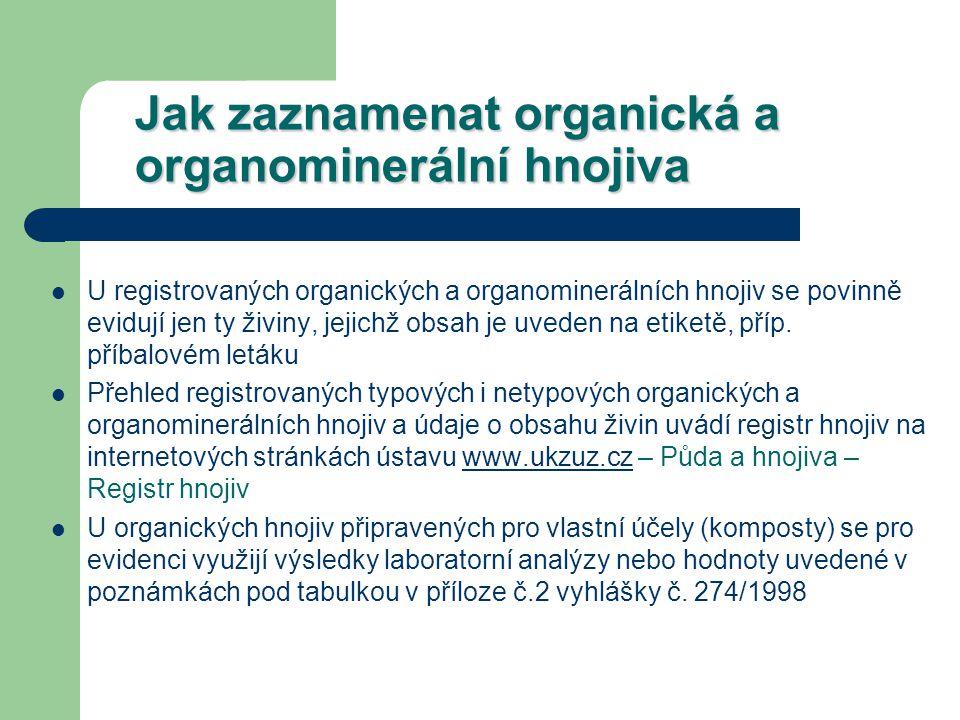 Jak zaznamenat organická a organominerální hnojiva U registrovaných organických a organominerálních hnojiv se povinně evidují jen ty živiny, jejichž obsah je uveden na etiketě, příp.