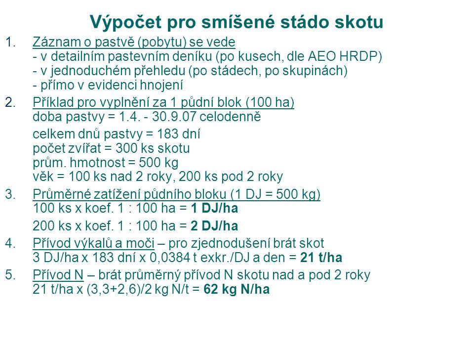 Výpočet pro smíšené stádo skotu 1.Záznam o pastvě (pobytu) se vede - v detailním pastevním deníku (po kusech, dle AEO HRDP) - v jednoduchém přehledu (po stádech, po skupinách) - přímo v evidenci hnojení 2.Příklad pro vyplnění za 1 půdní blok (100 ha) doba pastvy = 1.4.