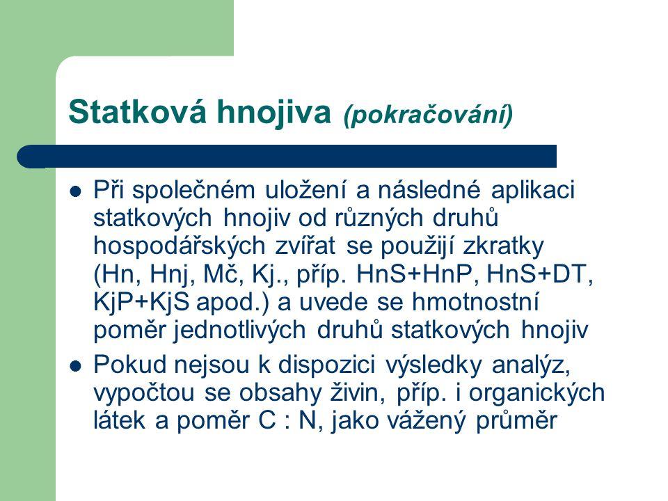 Při společném uložení a následné aplikaci statkových hnojiv od různých druhů hospodářských zvířat se použijí zkratky (Hn, Hnj, Mč, Kj., příp. HnS+HnP,