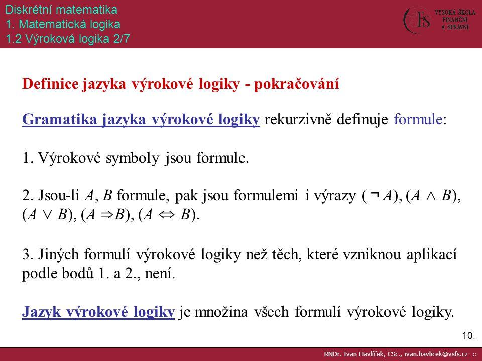 10. RNDr. Ivan Havlíček, CSc., ivan.havlicek@vsfs.cz :: Diskrétní matematika 1. Matematická logika 1.2 Výroková logika 2/7 Definice jazyka výrokové lo
