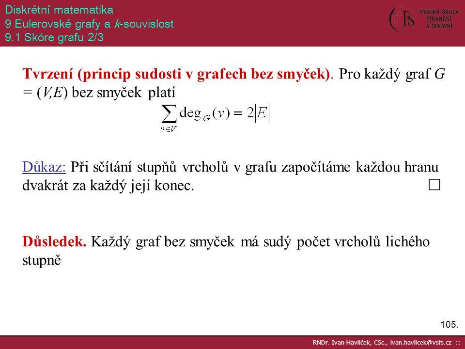 105. RNDr. Ivan Havlíček, CSc., ivan.havlicek@vsfs.cz :: Diskrétní matematika 9 Eulerovské grafy a k-souvislost 9.1 Skóre grafu 2/3 Tvrzení (princip s