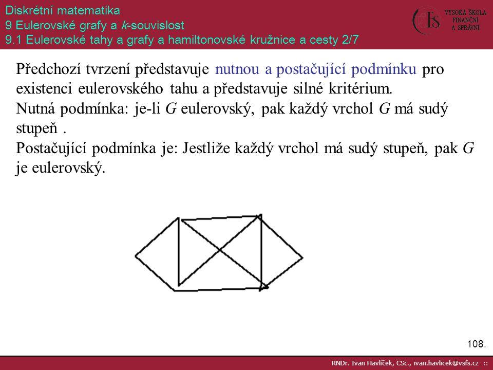 108. RNDr. Ivan Havlíček, CSc., ivan.havlicek@vsfs.cz :: Diskrétní matematika 9 Eulerovské grafy a k-souvislost 9.1 Eulerovské tahy a grafy a hamilton