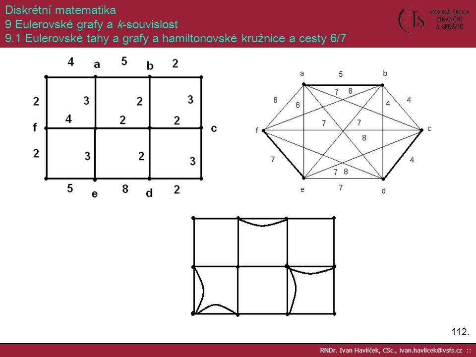 112. RNDr. Ivan Havlíček, CSc., ivan.havlicek@vsfs.cz :: Diskrétní matematika 9 Eulerovské grafy a k-souvislost 9.1 Eulerovské tahy a grafy a hamilton